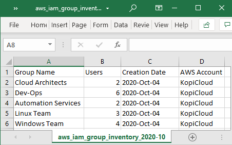Export AWS IAM Groups Excel