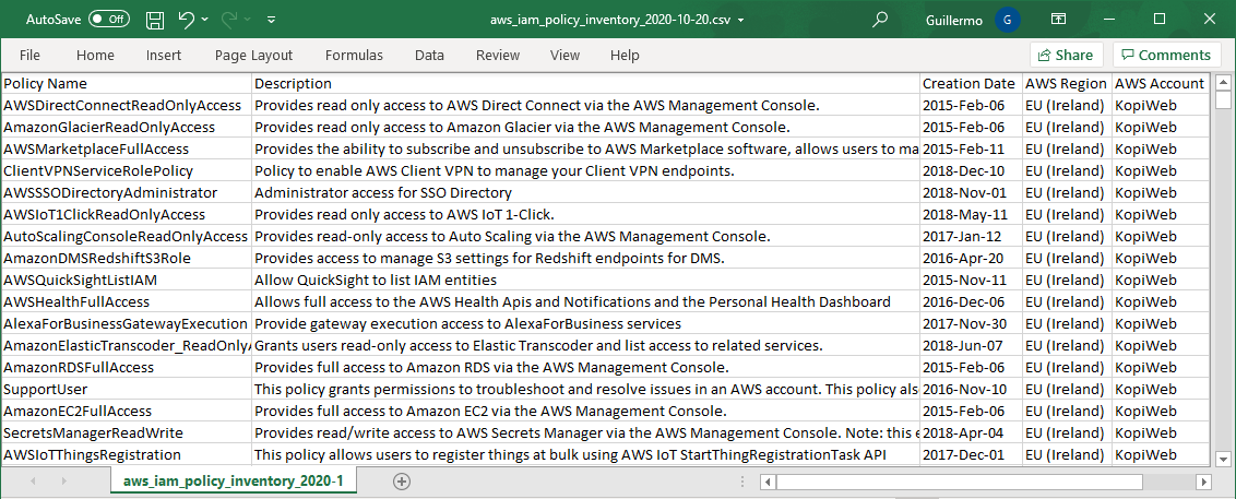 Export AWS IAM Policies Excel