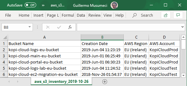 AWS Inventory Excel